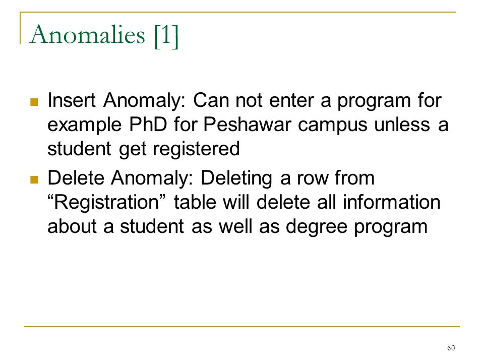 Anomalies [1] Insert Anomaly: Can not enter a program for example PhD for Peshawar campus unless a student get registered.